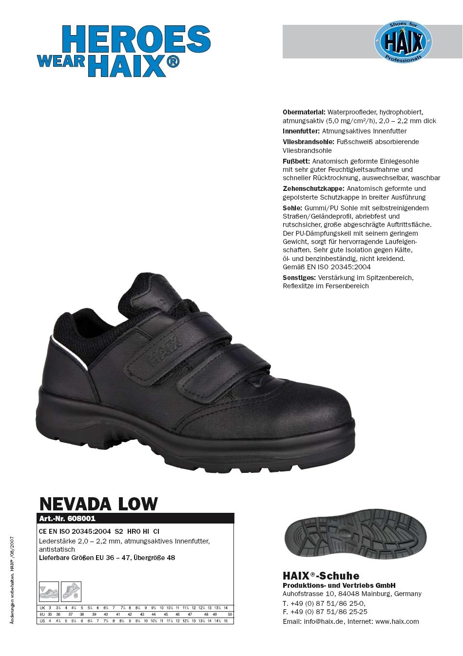 Baugewerbe Haix Nevada Pro Low